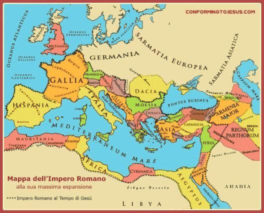 Insegnamenti Biblici - Questa Mappa dell'Impero Romano ci mostra la sua espansione al tempo di Gesu` nell'epoca del Nuovo Testamento e al culmine della sua potenza nel 116 d.C. sotto l'imperatore Traiano - ConformingToJesus