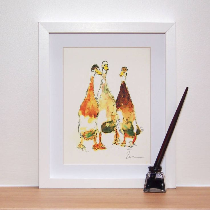 Three Wanderers, Indian Runner Duck Print And Original