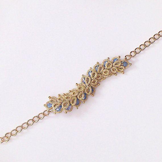 Gold lace bracelet tatted bracelet beaded bracelet by LaceLounge