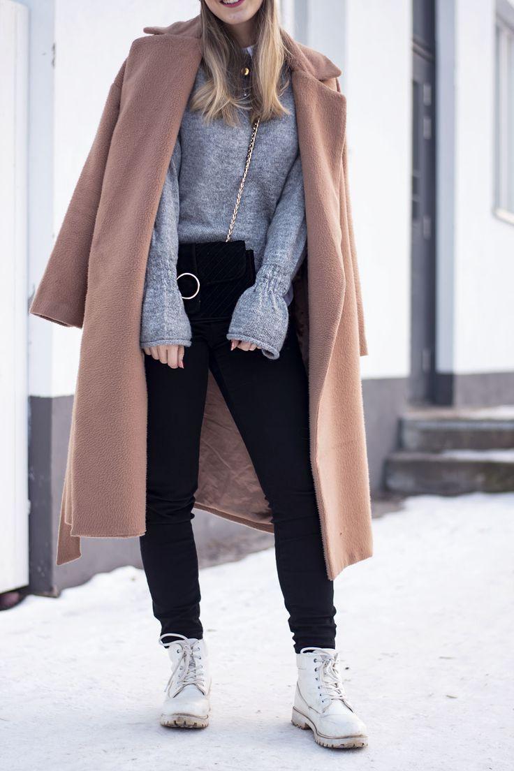 sandraemilia, outfit, fashion, ootd, grey, knit, beige coat, winter, style, hat