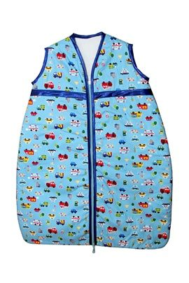 Very cute emergency vehicles print baby sleeping bag. Sizes 0-36 months. Satin trim to arms, neck and zip edge. Two layers of soft cotton with cosy inner batting. Central zip from bottom to top for ease of changing. Delivery: Up to 2 weeks if not in stock and needs to be made.
