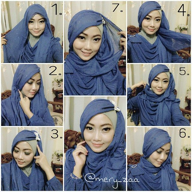 Check out this gorgeous hijab style, beautifully set for any special occasion you're about to attend, I would rock this for our traditional parties, the scarf plays a main role at making this look glamorous, it's a sequin one, so…
