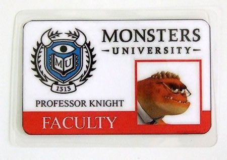 Carnet de estudiante Monstruos S.A. Monsters University. Profesor Knight