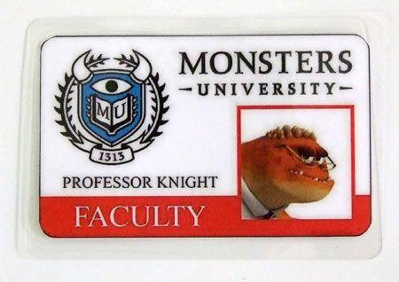 Carnet de estudiante Monstruos S.A. Monsters University. Profesor Knight