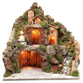 Pueblo iluminado con cabaña, cascada y escalera para belén 40x40x30 cm | venta online en HOLYART