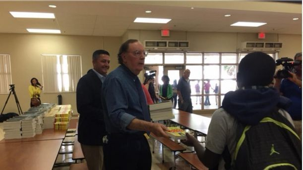 """Author James Patterson is donating 26,000 of his books to Palm Beach County Middle School Students. The author, 70, donated the books, worth about $500,000, out of his own pocket, said Erinn McGrath, spokeswoman for Little, Brown And Company, his publisher. He said he did it to prevent """"summer slide,"""" when students' academic skills tend to deteriorate."""