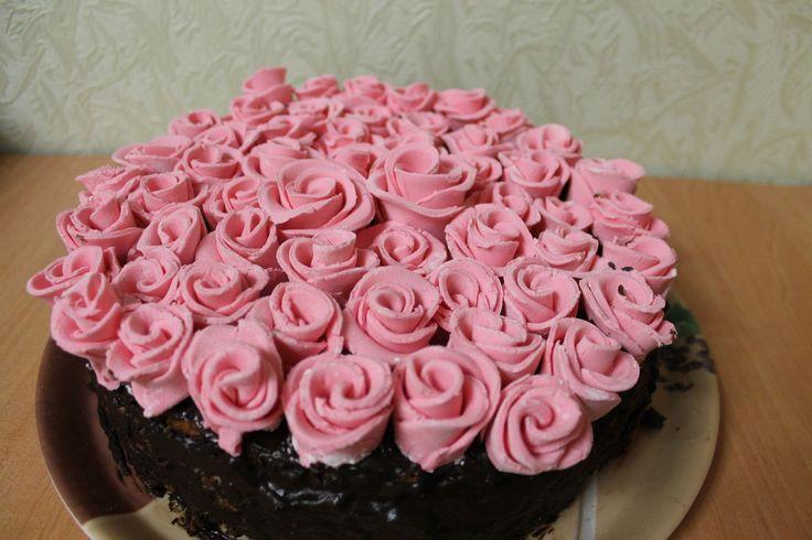 Розовые розы #торт_на_заказ_николаев #день_рождения #бисквитный_торт
