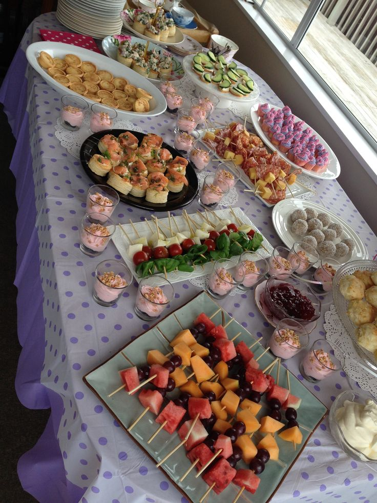 Food table for a high tea baby shower.  Fruit skewers, mini scones, mini cupcakes, milk tartlets, strawberry mouse and more. Tea, coffee, punch and mint water were all served in tea cups with saucers.