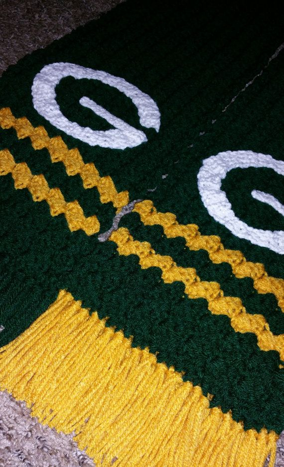 Crocheted Green Bay Packers Scarf by CreatedWithaHook on Etsy