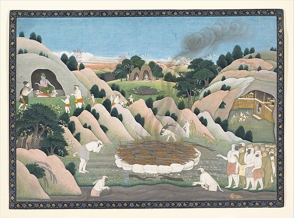 The Monkey King Vali's Funeral Pyre    Date:ca. 1780  Culture:India (Himachal Pradesh, Kangra).  Smoke rises from the funerary pyre of the monkey king Vali, who was murdered by his brother and rival, Sugriva, with the help of Rama. At the upper left, Sugriva approaches Rama, seated in a cave, who affirms his standing as king of the monkeys