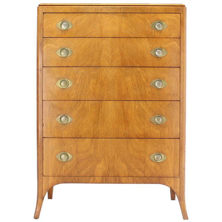 John Stuart Mid Century Modern Art Deco Style High Chest Dresser | From a unique collection of antique and modern commodes and chests of drawers at http://www.1stdibs.com/furniture/storage-case-pieces/commodes-chests-of-drawers/