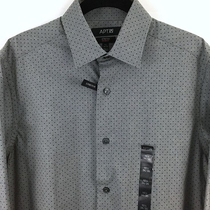 Apt 9 Slim Fit Dress Shirt 15.5 LS 34/35 Gray Small Stars Spread Collar Stretch #Apt9