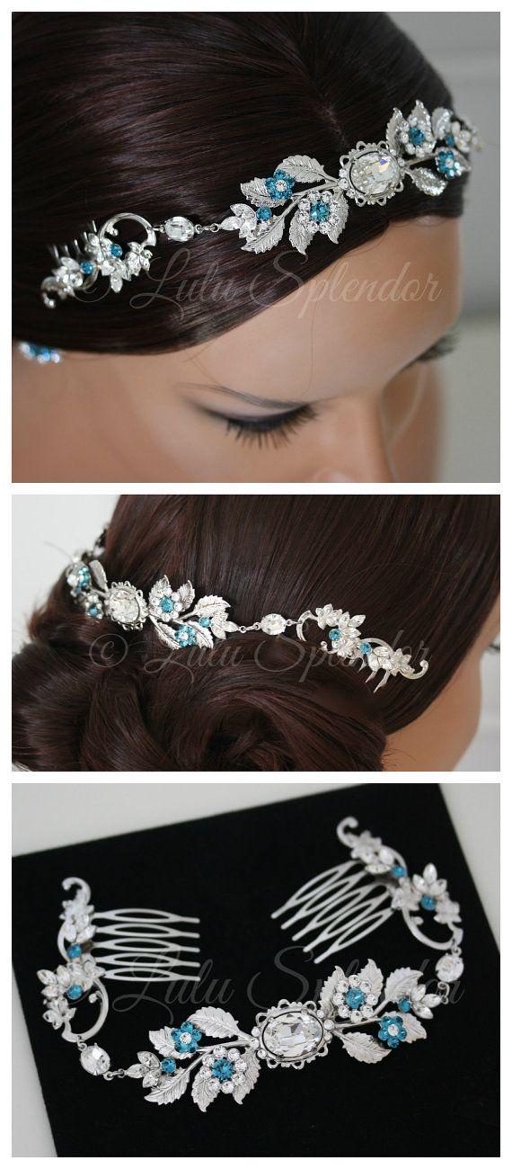 Bridal Crystal Headpiece Teal Blue Wedding Comb by LuluSplendor
