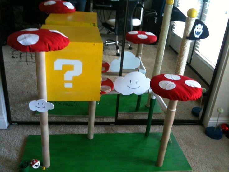 Mario cat playground they love sleeping in the box for Diy cat playground