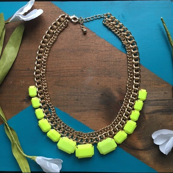 Neon statement necklace Gold and neon yellow statement necklace Jewelry Necklaces