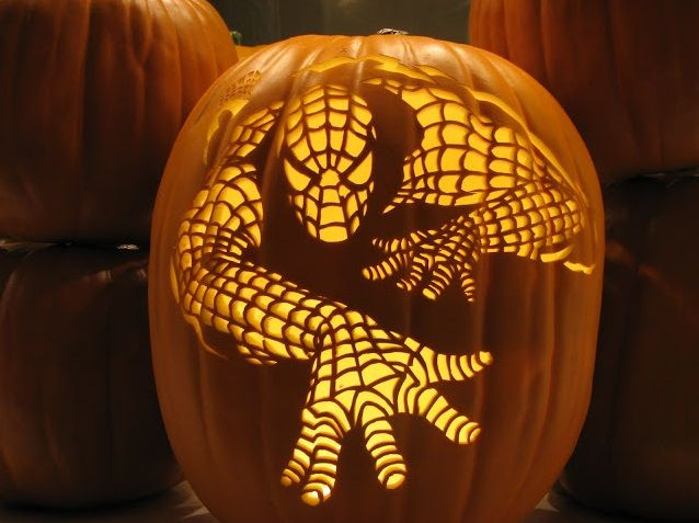 This wonderful pumpkin carving brings Spiderman to life! #halloween