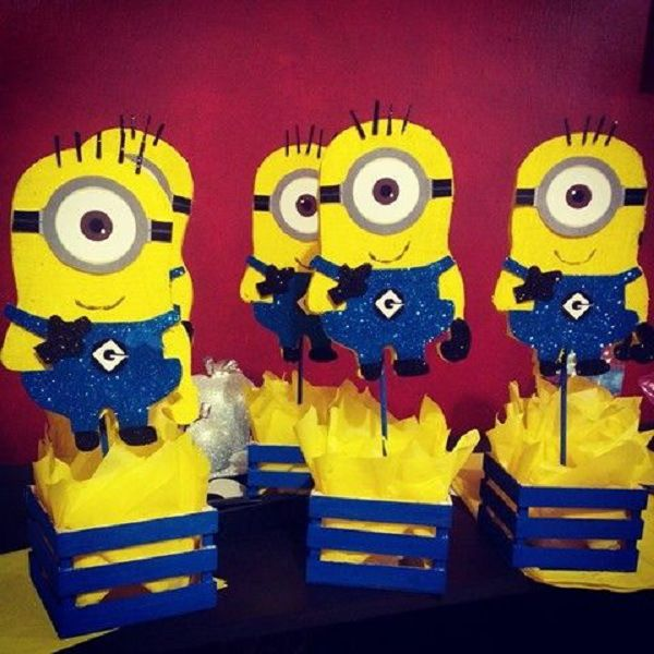 $12.00 Minion Centerpieces.   We can custom design any theme, colors and size of your choice. We deliver locally for free and Ship internationally as well.  Please order at least 1-2 weeks before your event.