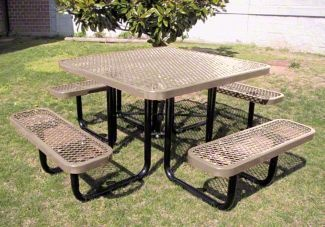 46-Inch Square Expanded Metal Commercial Picnic Table - Made in USA! - 265 lbs.16 Color Options - price $629.30