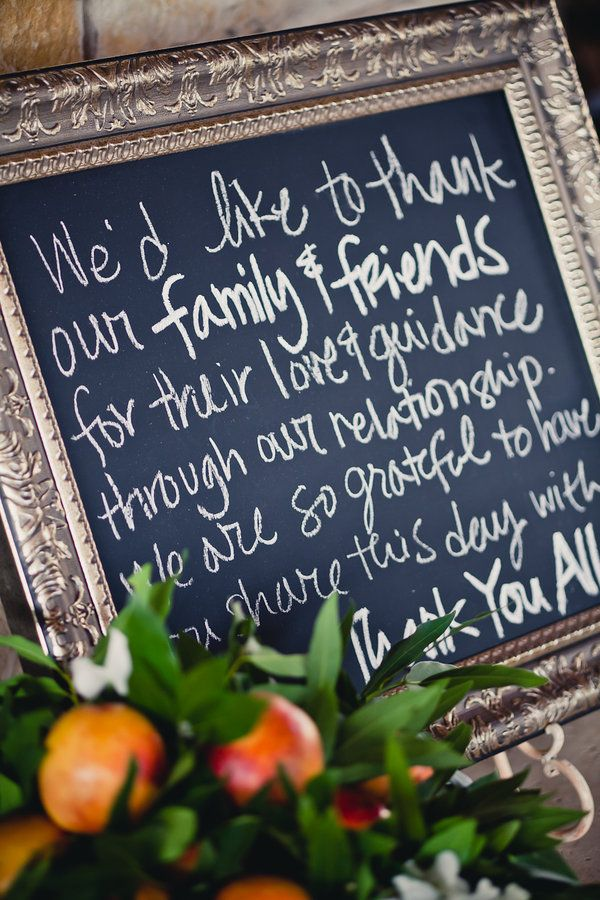great idea to say thanks at the reception!