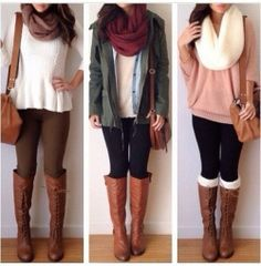 good fall combos, maybe change the shirt of the first one, and ditch the scarf