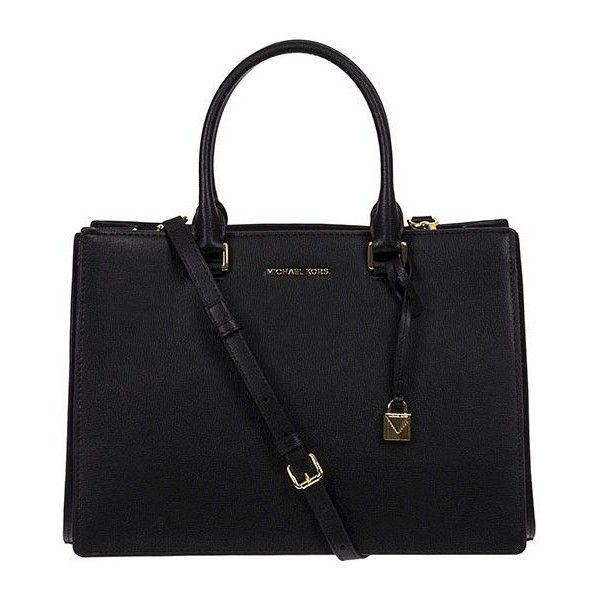 Satchel Sutton (18.045 RUB) ❤ liked on Polyvore featuring bags, handbags, black, michael kors satchel, michael kors, leather satchel handbags, michael kors purses and satchel purses