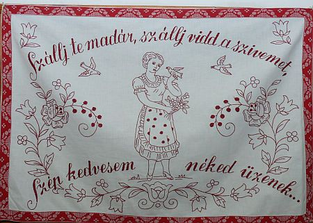 Szálj te madár... - Magyar falvédő ¤ Hungarian embroidered wall carpet