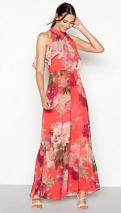 b3a6f20ce43a1 Debut - Bright orange floral print chiffon maxi dress | Casual ...