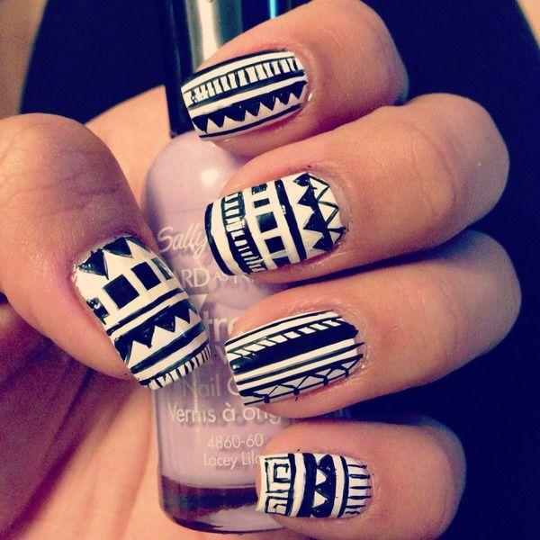 Black & white tribal print nails