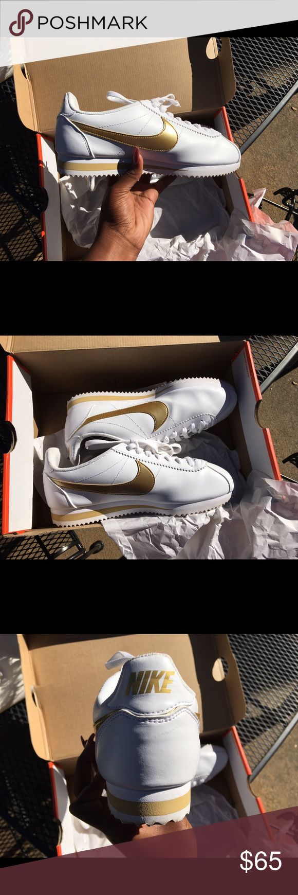 White and Gold Women Cortez (9) White and Gold Cortez fairly new, only worn 2 times and still in box. #Nike #Cortez #white #gold #new #clean #fashion #sneakers Nike Shoes Sneakers