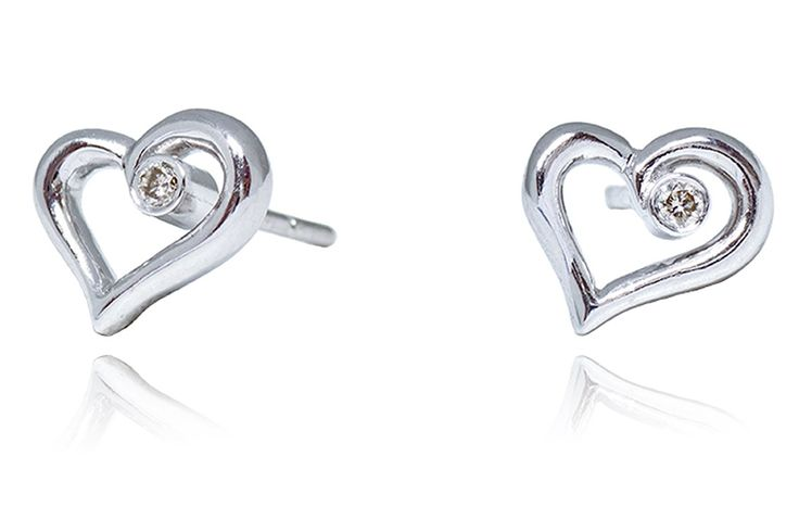 Valentine's Day Gift Idea - Luxury Pure Love 0.035cts Diamond Heart Shape Stud Earrings in 9K White Gold #kelvingems #valentine2015 (Free Shipping Nationwide + Free Valentine's Gift Packaging + 1 Year Manufacturer Warranty for SWAROVSKI Zirconia + Free Polishing Service + 7 Days Exchange Period)