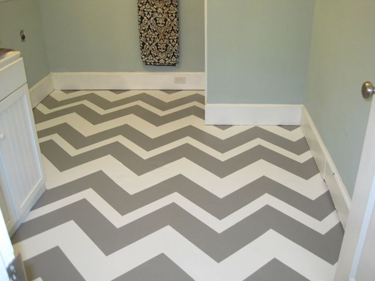 Chevron-painted concrete floor in laundry room. High impact, stylish, and cost efficient. Yes please.