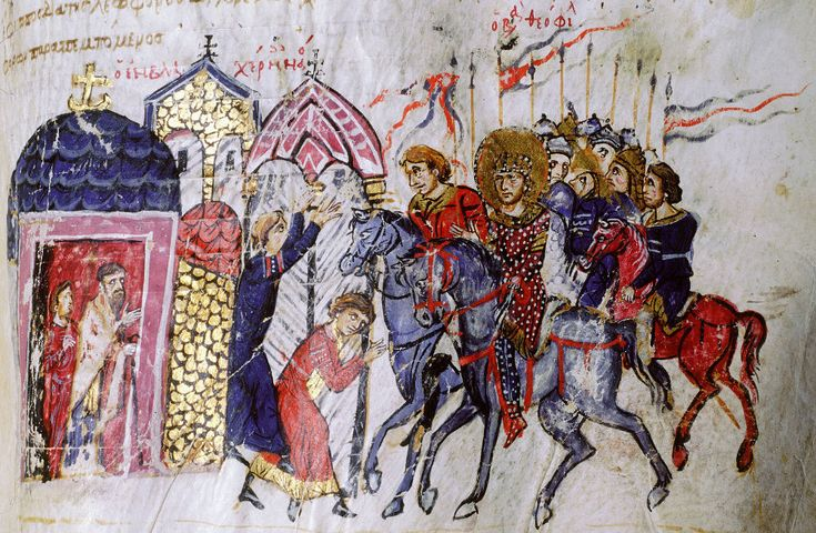 Theophilus with his bodyguard outside the church of Blachernae, dispensing justice to a widow who has approached him with a complaint. Two priests look on from the church door.