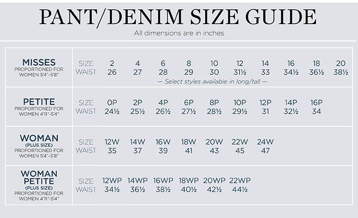 Talbots Denim Sizing Size Chart Petite Size Size