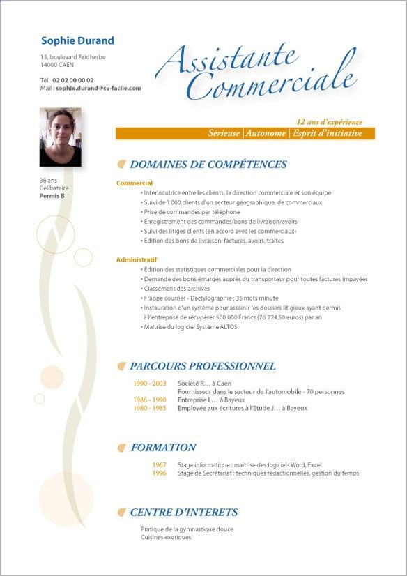 Exemple de CV secretaire d'edition