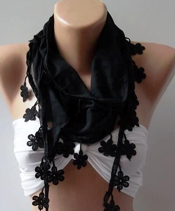 Black  Elegance Shawl / Scarf with Lace Edge by womann on Etsy, $13.90