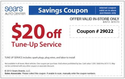 Sears coupon brakes service