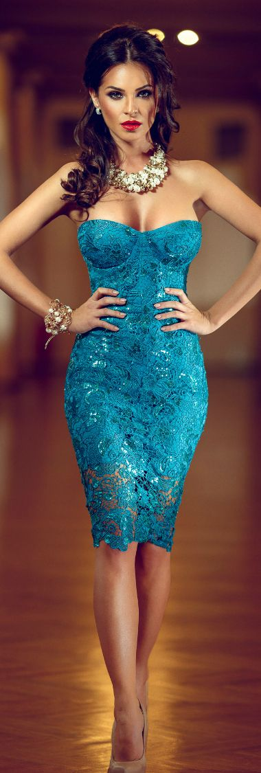 It makes me feel better that there is a dress like this that might be able the handle my breasts. Turquoise lace dress. ...