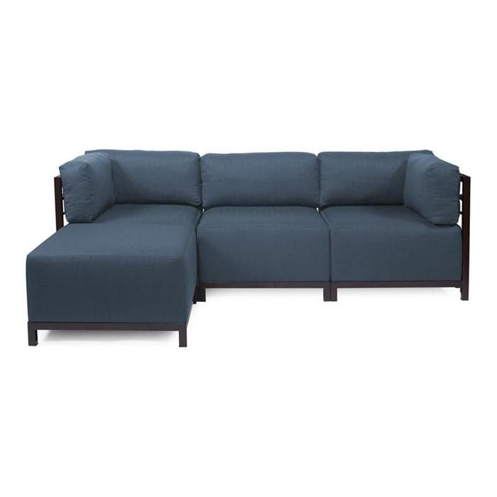 Axis 4 Piece Sectional In Sterling Indigo With Mahogany Frame