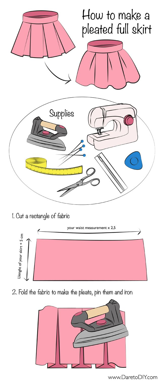 Indique comment faire soi-même une jupe à plis à nos propres mesures.…reépinglé par Maurie Daboux.•*´♥*•❥ڿڰۣ—