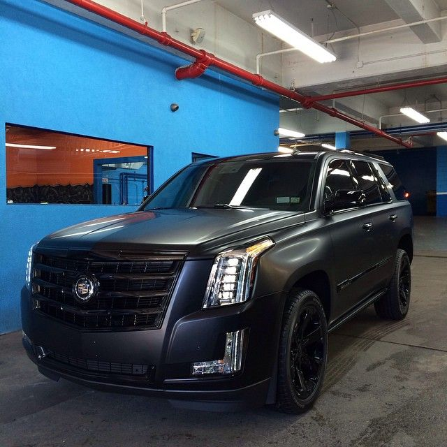 "@carswithoutlimits's photo: ""Check Our @hydrosautospa • 2015 #Cadillac Escalade Wrapped In Satin Black With Gloss Black Accents"""