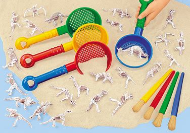"""dino-dig excavation kit from Lakeshore- there are 12 different """"fossils"""" that are extremely detailed for great dino exploration"""