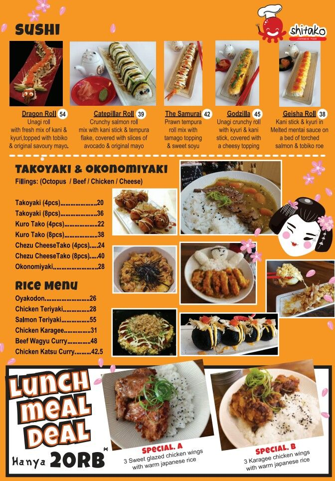 This is it... Our variant menu and pricelist.. Sushi, Takoyaki, Okonomiyaki, and Rice Menu are ready to try! Get our fantastic Lunch Meal Deal only IDR 20.000. Don't you left behind! Only at Shitako Cafe 👍👍 . . . #shitako #shitakocafe #shitakohoms #shitakohouse #shitakotakoyaki #sushi #takoyaki #okonomiyaki #ricemenu #lunch #deal #meal #kelapagading #kulinerkelapagading #kelilinggading #gagaldiet #jktgo #jktgofood