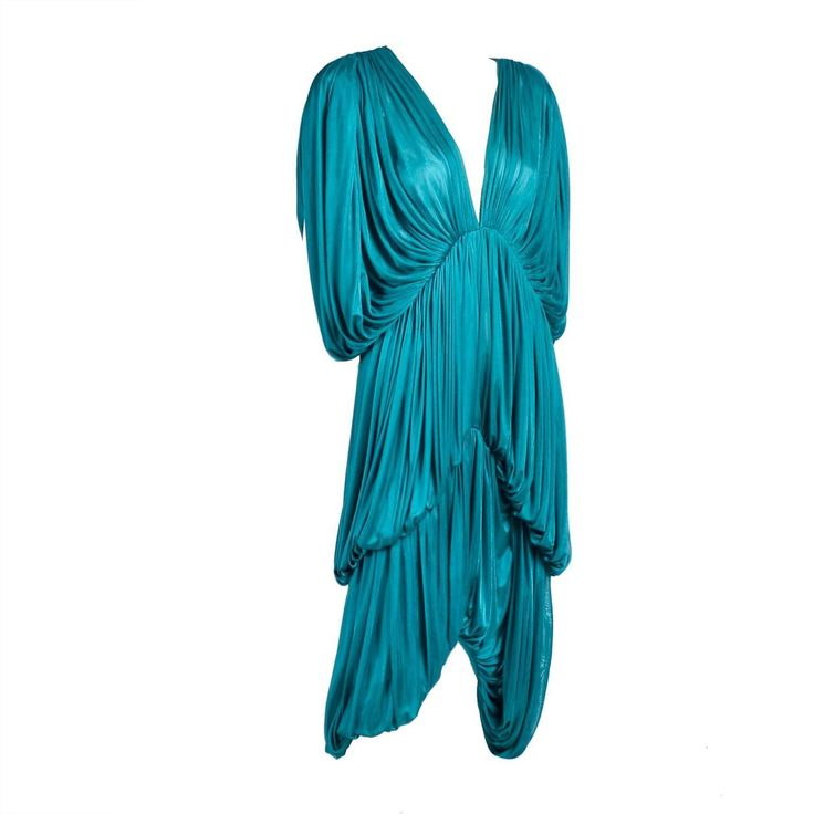Rare 1970s Norma Kamali OMO Vintage Butterfly Dress in Draped Teal Blue  | 1stdibs.com