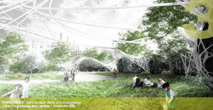 The Winners of d3 Housing Tomorrow 2014,Third Prize: Trans-scraper 2050: Eco-Colonization / Yuen Fung Cheung, Artur Nitribitt (Hong Kong-Poland). Image Courtesy of d3