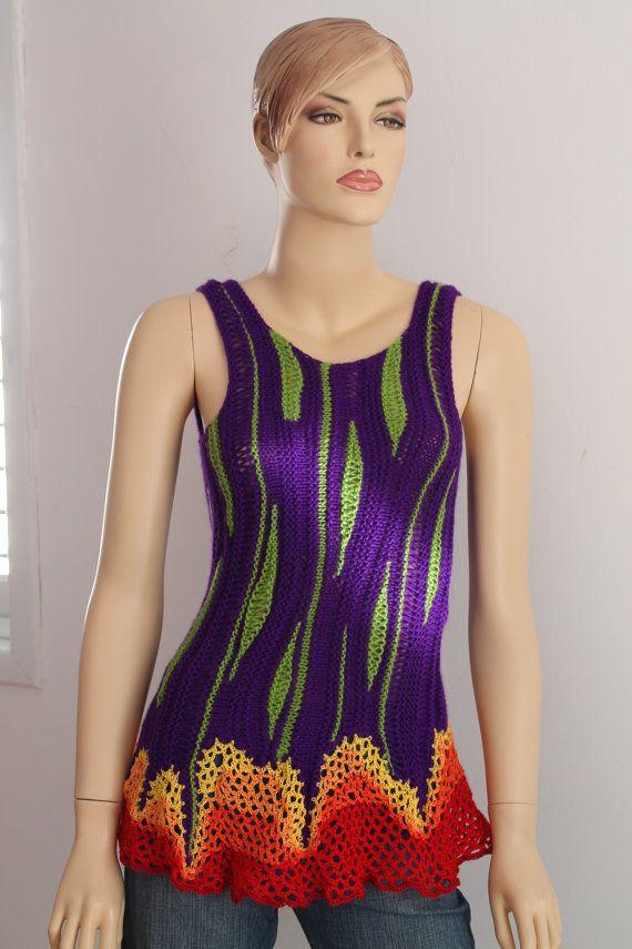Luxury Rainbow Hand Knit Crochet Sweater - Top - Tunic -Wearable Art - Pixie Fairy Hippie- Festival