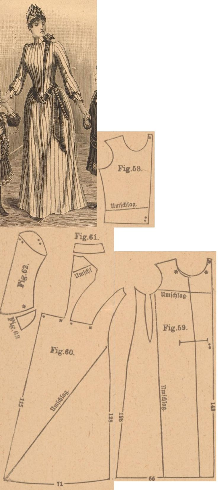 Der Bazar 1889: Striped flanel morning gown; 58. front of bodice, 61. collar, 62. and 63. sleeve and cuff, 59. and 60. side and back gores