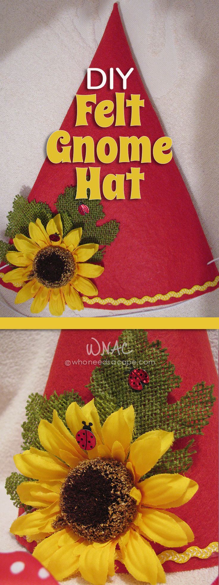 DIY Felt Gnome Hat the most ADORABLE Halloween costume!
