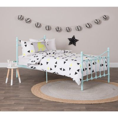 Cora Classic Metal Single Bed Frame - Antique Blue