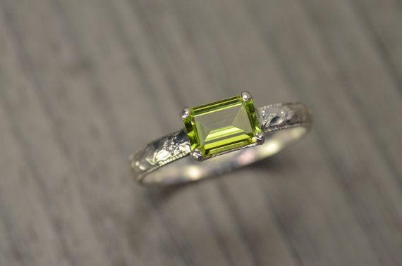 Peridot Ring, emerald cut silver milgrain solitaire, August Birthstone - Fitz Ring