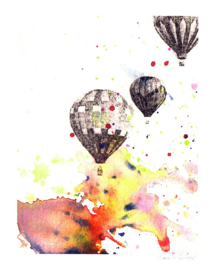 Hot Air Balloons Watercolor Painting